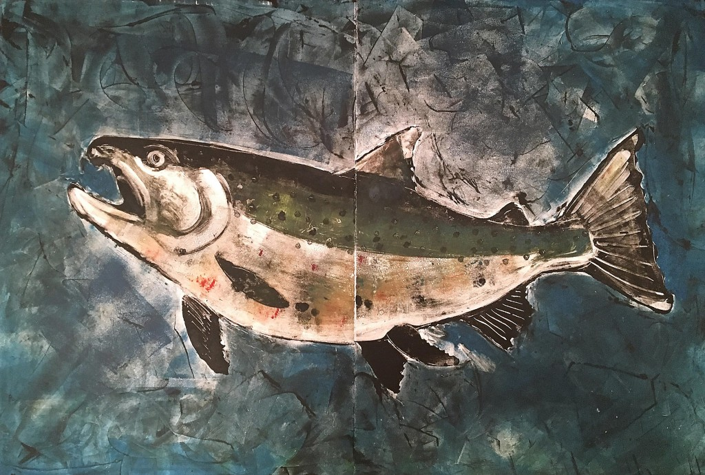 Salmon-with-blue-background