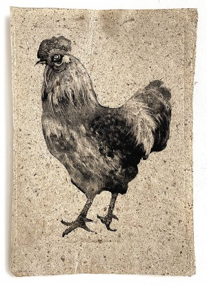 Rooster on speckled paper